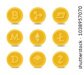 gold digital cryptocurrency... | Shutterstock .eps vector #1038957070