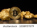 closeup of big gold nugget and...   Shutterstock . vector #1038957079