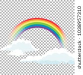 bright arched rainbow with... | Shutterstock .eps vector #1038957310