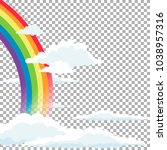 bright arched rainbow with... | Shutterstock .eps vector #1038957316