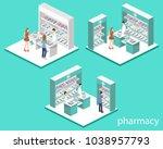 isometric 3d vector... | Shutterstock .eps vector #1038957793