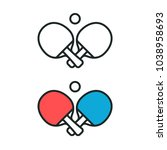 two crossed ping pong rackets... | Shutterstock .eps vector #1038958693