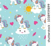 unicorn cute pattern | Shutterstock .eps vector #1038959899