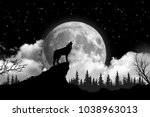 Black And White Wolf Howling A...