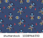 seamless pattern  cartoon hero... | Shutterstock .eps vector #1038966550
