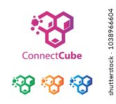 abstract cube connecting logo... | Shutterstock .eps vector #1038966604
