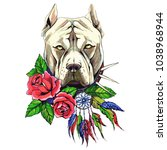 pit bull  dog with roses ... | Shutterstock .eps vector #1038968944