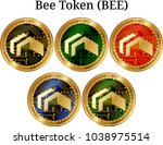 set of physical golden coin bee ...   Shutterstock .eps vector #1038975514