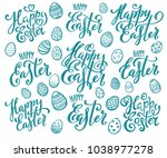 big set of hand written happy... | Shutterstock .eps vector #1038977278