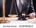 close up of male lawyer or... | Shutterstock . vector #1038980863