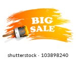 illustration of sale painted with colorful paint brush stroke - stock vector