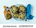 stuffed mushrooms portobello on ... | Shutterstock . vector #1038985549