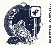 astronaut in space tattoo and t ... | Shutterstock .eps vector #1038986566
