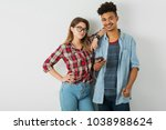 young pretty couple  handsome... | Shutterstock . vector #1038988624