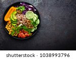 buddha bowl dish with brown... | Shutterstock . vector #1038993796