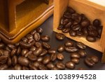 coffee bean close shot  | Shutterstock . vector #1038994528