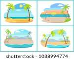 empty tropical sandy beaches... | Shutterstock .eps vector #1038994774