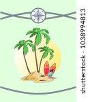 wild island with three palms ... | Shutterstock .eps vector #1038994813