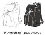 sketch of a rucksack. backpack...   Shutterstock .eps vector #1038996973