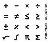 math symbols icon set | Shutterstock .eps vector #1039001206