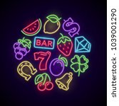 gambling casino games neon logo ... | Shutterstock .eps vector #1039001290