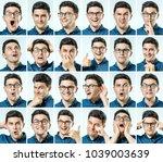 mosaic of man expressing...   Shutterstock . vector #1039003639