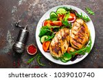 grilled chicken breast. fried... | Shutterstock . vector #1039010740