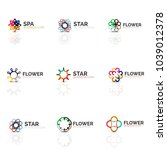 set of abstract flower or star... | Shutterstock .eps vector #1039012378