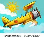 Cartoon biplane - stock photo