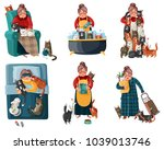 lonely lady with cats during... | Shutterstock .eps vector #1039013746