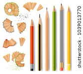 sharpened wooden pencil with... | Shutterstock .eps vector #1039013770