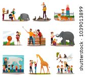 zoo icons set with visitors... | Shutterstock .eps vector #1039013899