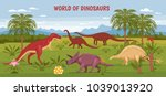 dino illustration with wild... | Shutterstock .eps vector #1039013920