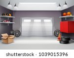 garage interior in grey color... | Shutterstock .eps vector #1039015396