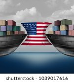 american trade restriction as a ... | Shutterstock . vector #1039017616