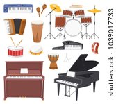 musical instruments vector... | Shutterstock .eps vector #1039017733