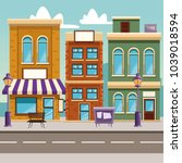 town buildings cartoon | Shutterstock .eps vector #1039018594
