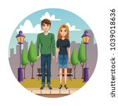 young couple cartoon | Shutterstock .eps vector #1039018636