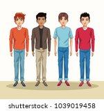young men cartoon | Shutterstock .eps vector #1039019458
