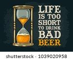 retro hourglass. life is too... | Shutterstock .eps vector #1039020958