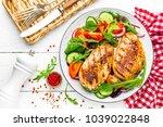 grilled chicken breast. fried... | Shutterstock . vector #1039022848