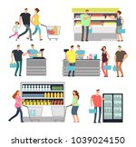 shopping shop people in... | Shutterstock .eps vector #1039024150