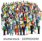 crowd and groups of people ... | Shutterstock . vector #1039024240