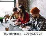 group of university students... | Shutterstock . vector #1039027324