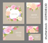 set of floristic elements of... | Shutterstock .eps vector #1039038130