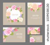 set of floristic elements of... | Shutterstock .eps vector #1039038130
