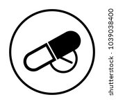 pill icon in circle   Shutterstock .eps vector #1039038400