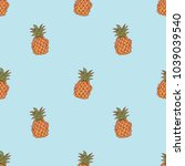 seamless pattern with pineapple ...   Shutterstock .eps vector #1039039540