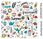background with summer set of... | Shutterstock .eps vector #1039039744