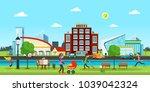 city. vector abstract town with ... | Shutterstock .eps vector #1039042324